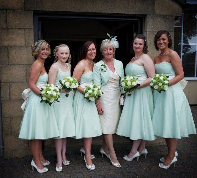 Green #bridesmaid dresses - via Wedding Ideas..... older bride ...