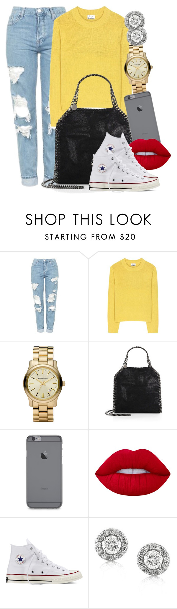 """Acne, TOPSHOP and Converse"" by camrzkn ❤ liked on Polyvore featuring Topshop, Acne Studios, MICHAEL Michael Kors, STELLA McCARTNEY, Lime Crime, Converse and Mark Broumand"