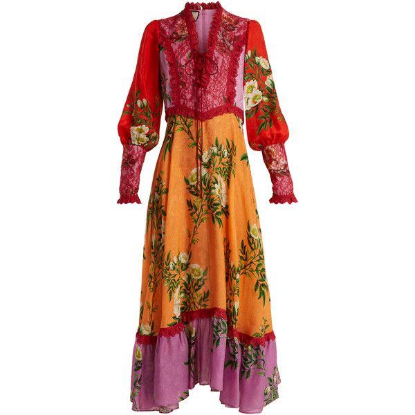 Gucci Contrast Panel Fl Print Crepe Dress Found On Polyvore Featuring Dresses Orange Multi Scalloped V Neck