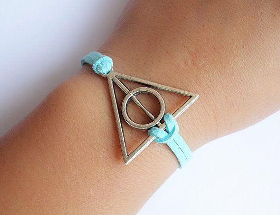 Harry Potter Deathly Hallows Bracelet / Mint Blue Leather Rope