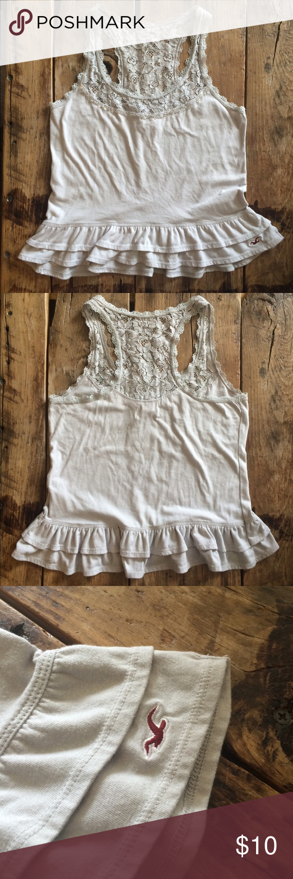 Grey Lace Tank Very comfortable and cute! Hollister Tops Tank Tops