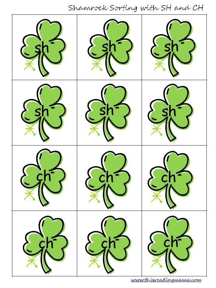 Free Shamrock Sorting With Digraphs Sh And Ch Digraphs