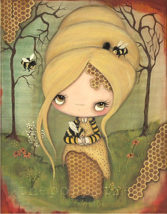 Bumble Bee Art Original Painting Bee Girl Honeycomb Forest Save The ...
