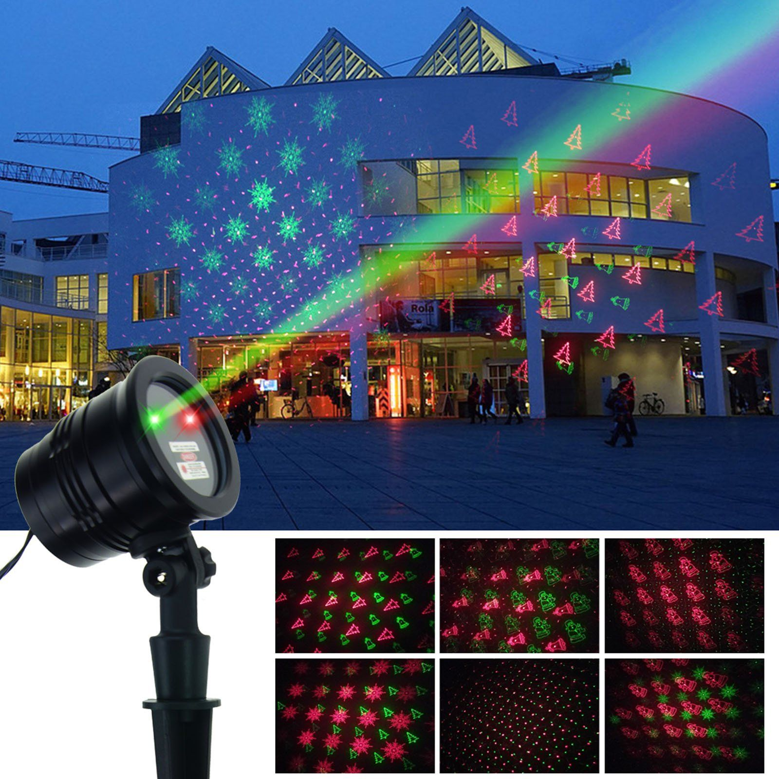 christmas laser lights red green led projector rf wireless remote control 5 light patterns outdoor and indoor ip65 waterproof spotlight for xmas