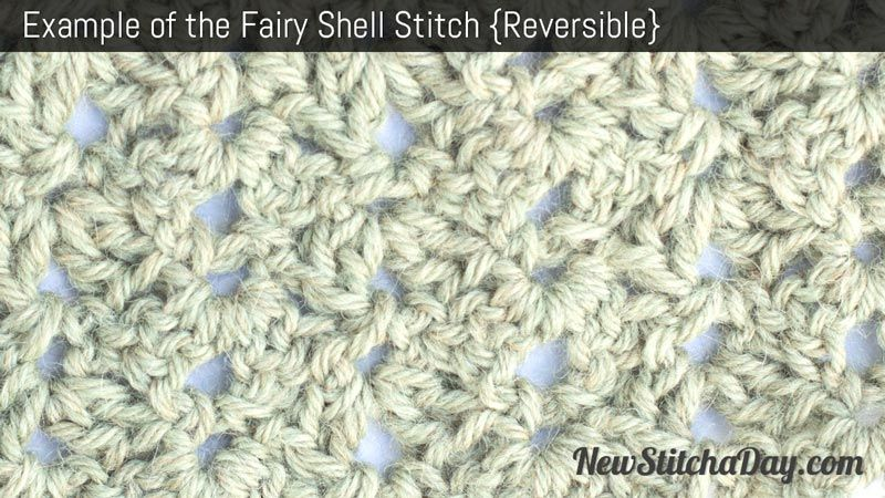 Example of the Fairy Shell Stitch. (Reversible) | Cosas que me ...