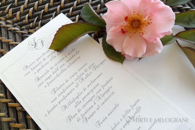 Modello Menù Matrimonio #wedding #menu http://www.mirtiemelograni.it/prodotti/menu/linea-base-detail.html#