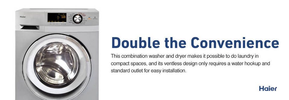 Shop Haier Ventless Combination Washer And Dryer Silver At Lowes
