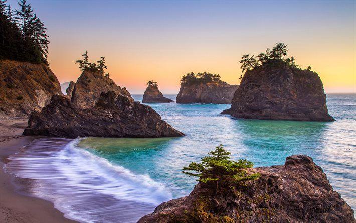 Lataa kuva Aamulla, sunrise, ocean, rannikolla, aallot, kiviä, USA, Oregon, Tyynellämerellä