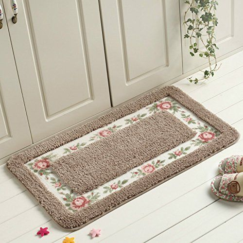 Sytian Decorative Super Soft Floral Design Rural Style Pretty Rose Pattern Non Slip Absorbent Shaggy Area Ru Deep Carpet Cleaning Rugs On Carpet Soft Floor Mat