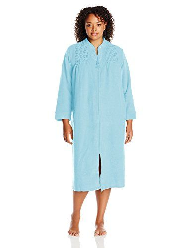 Miss Elaine Women's Plus Size Brushed Back Terry Long Zip Robe
