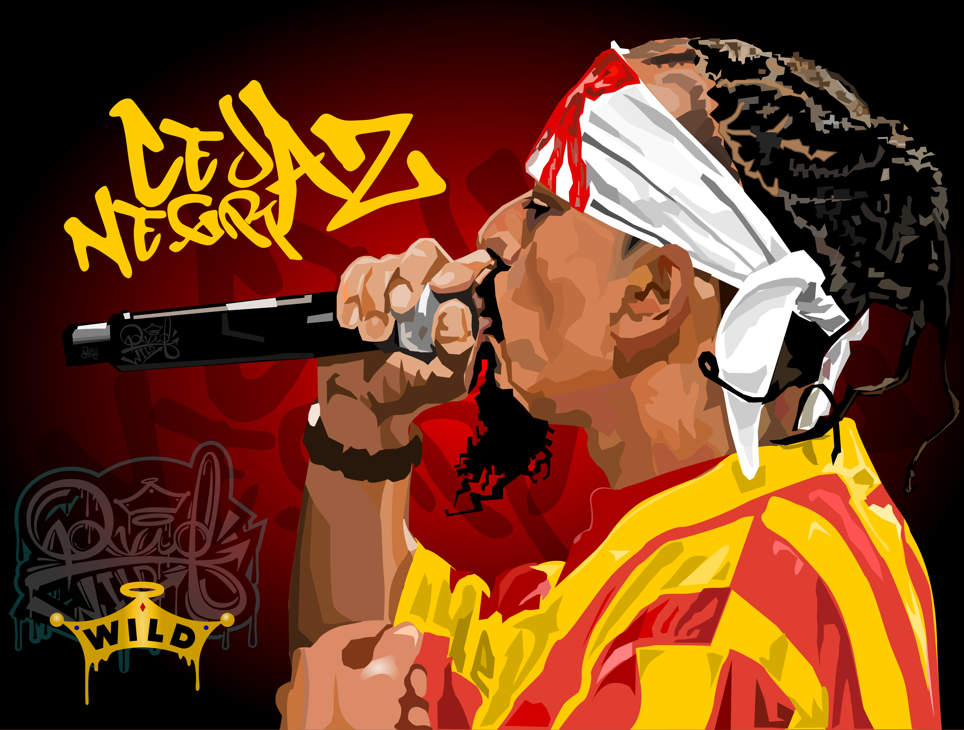 Ilustracion vectorial cejaz negraz rapero colombiano integrante de la agrupacion crack family by: #davidstivenwild #wild