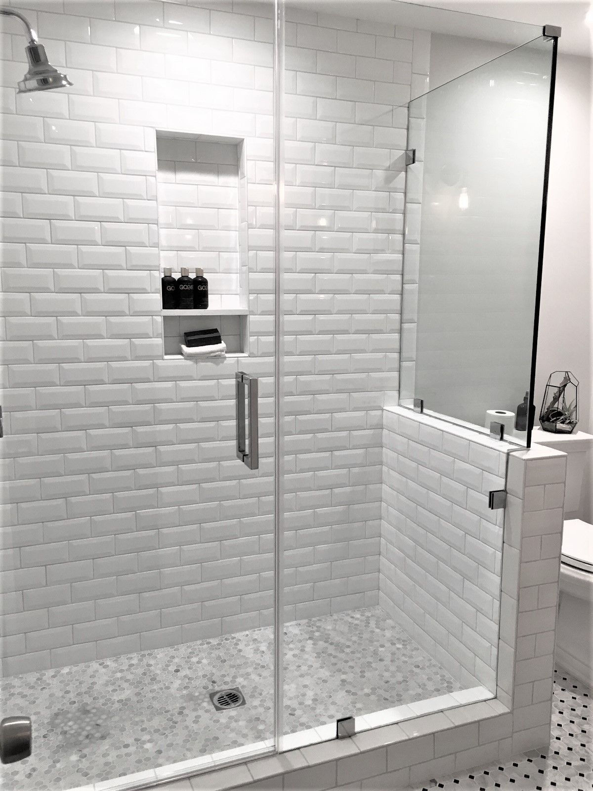 This Is A Shower I Designed In Woodland Hills With Beveled White Subway Tile And Fra Beveled Subway Tile Shower White Subway Tile Shower Frameless Shower Doors