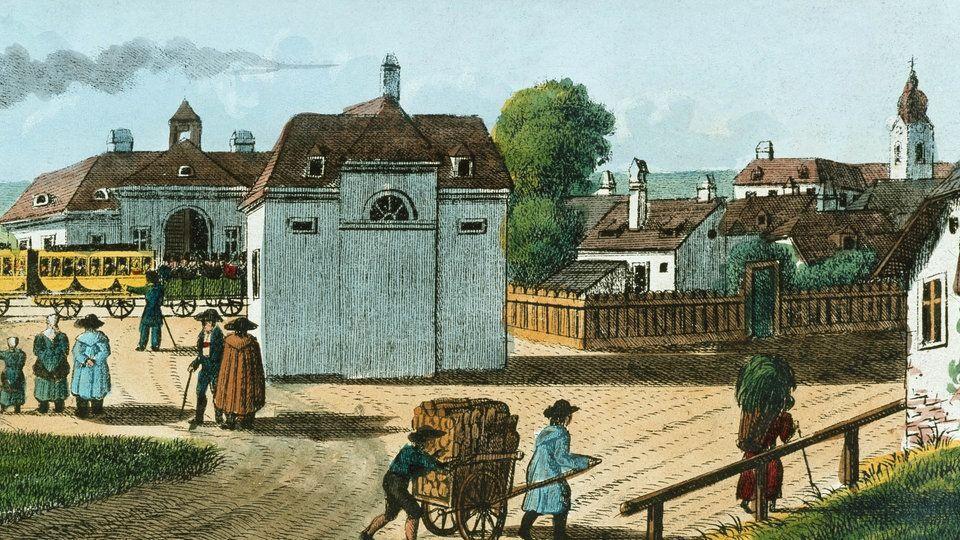 Kolorierte Radierung eines Dorfes (1837) | Bildquelle: akg