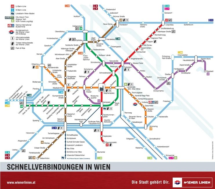 Vienna UBahn and SBahn map Maps Pinterest Vienna Austria