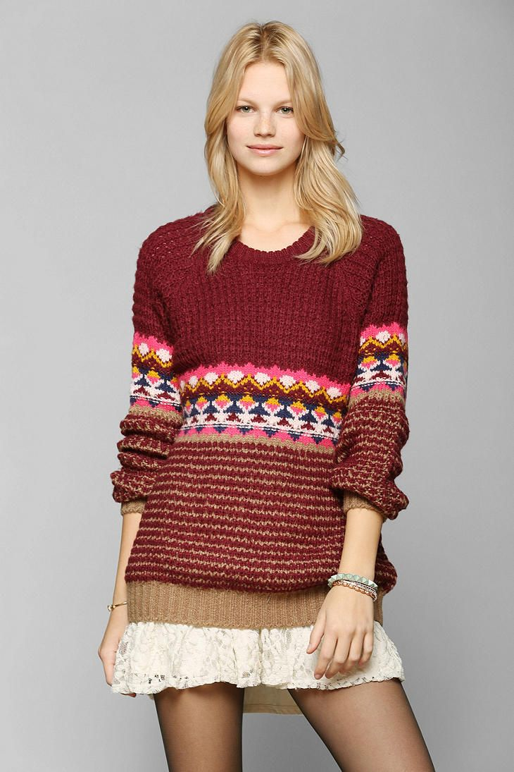 Coincidence & Chance Bright Fair Isle Sweater ...waffle stitch ...