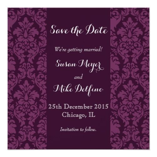 Indian Wedding Save the Date Save date wedding invitation card purple damask