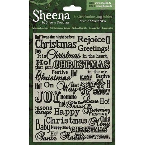 Embossing Folder - Sheena 5x7 / Christmas Greetings