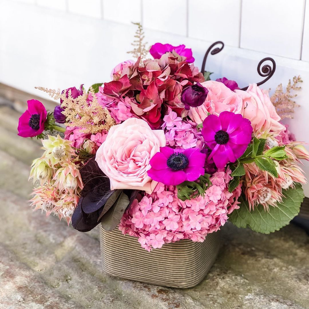Daily Delivery Arrangement In Fuchsia And Pinks In 2020 Flower Delivery Black Calla Lily Nantucket Wedding