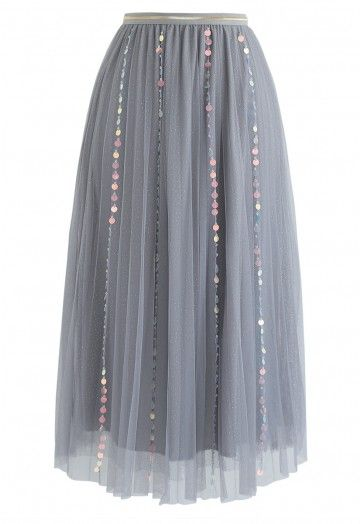 My Fairytale Sequin Tulle Mesh Skirt in Grey - Retro, Indie and Unique Fashion