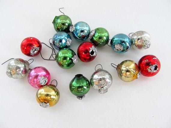 16 Tiny Vintage Miniature Mercury Glass Christmas Ball Ornaments Feather Tree Ornament Mercury Glass Christmas Glass Christmas Balls Mercury Glass Christmas Ornaments