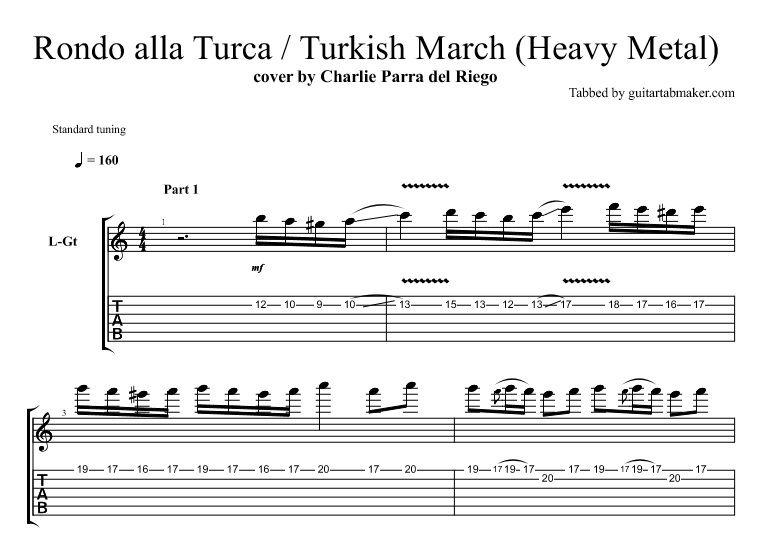 Turkish March Guitar Tab Sample Music Instrumental