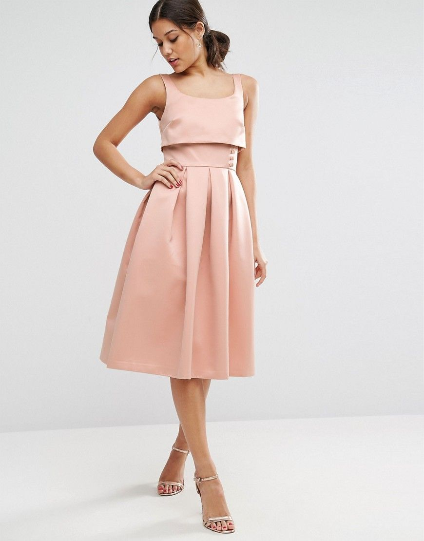 Peach dress for wedding guest  ASOS Crop Top Prom Dress With Button Detail  Pink  Fashion