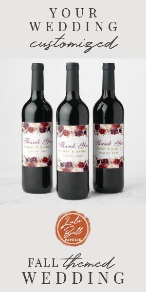 Burgundy Watercolor Floral Gold Wedding Wine Label