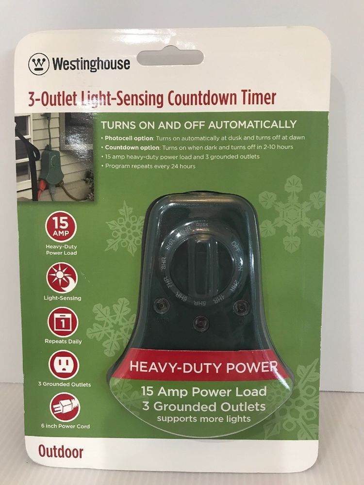 Westinghouse 3 Grounded Outlet Photocell Countdown Timer E Z To