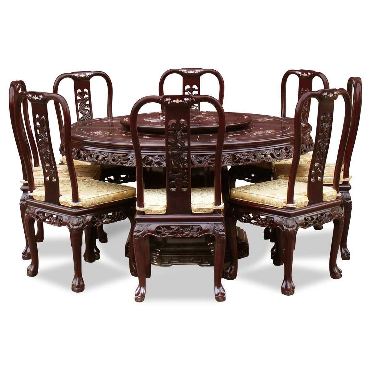 60in Rosewood Queen Ann Pearl Inlay Motif Round Dining Table With 8 Chairs.  The Style