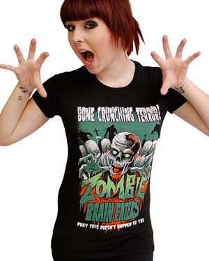 "Darkside ® - Zombie Brain Eaters Womens T Shirt, <span class=""ProductDetailsPriceIncTax"">$12.12 (inc VAT)</span> <span class=""ProductDetailsPriceExTax"">$10.09 (exc VAT)</span> (http://www.darksideclothing.com/zombie-brain-eaters-womens-t-shirt/)"