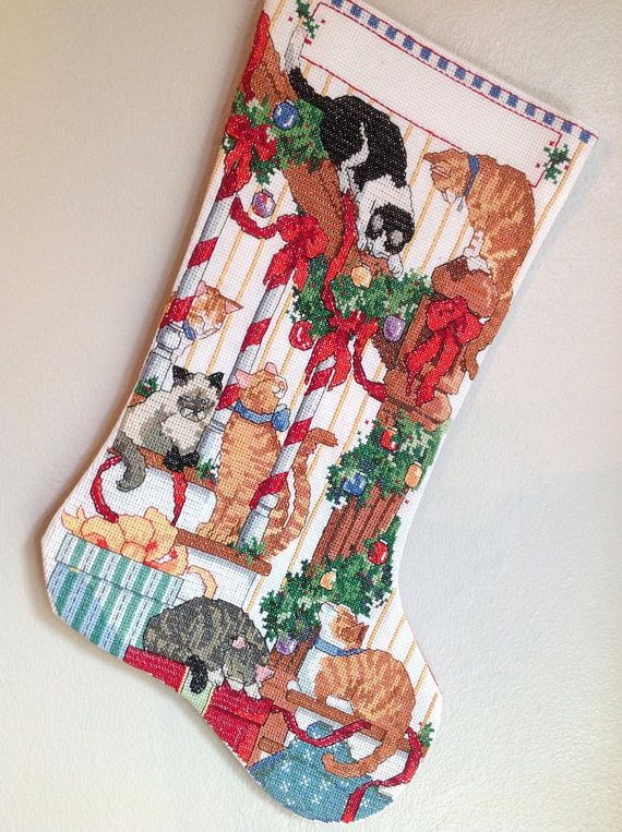 CURIOUS CATS CROSS STITCHED CHRISTMAS STOCKING, cat christmas