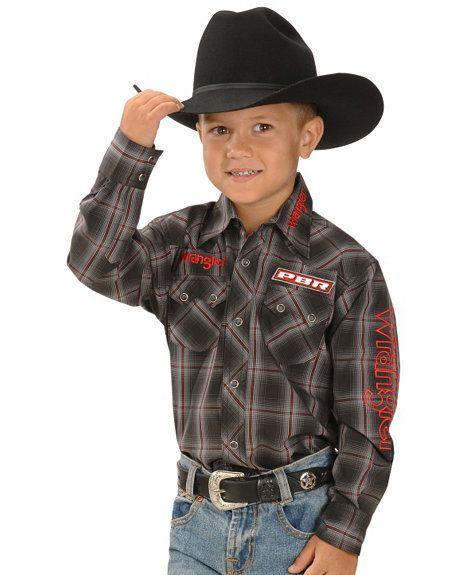 Wrangler Boys Pbr Logo Plaid Western Rodeo Shirt 5 16