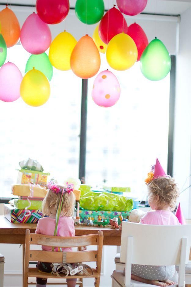 Hang them upside down from the ceiling. | 32 Unexpected Things To Do With Balloons