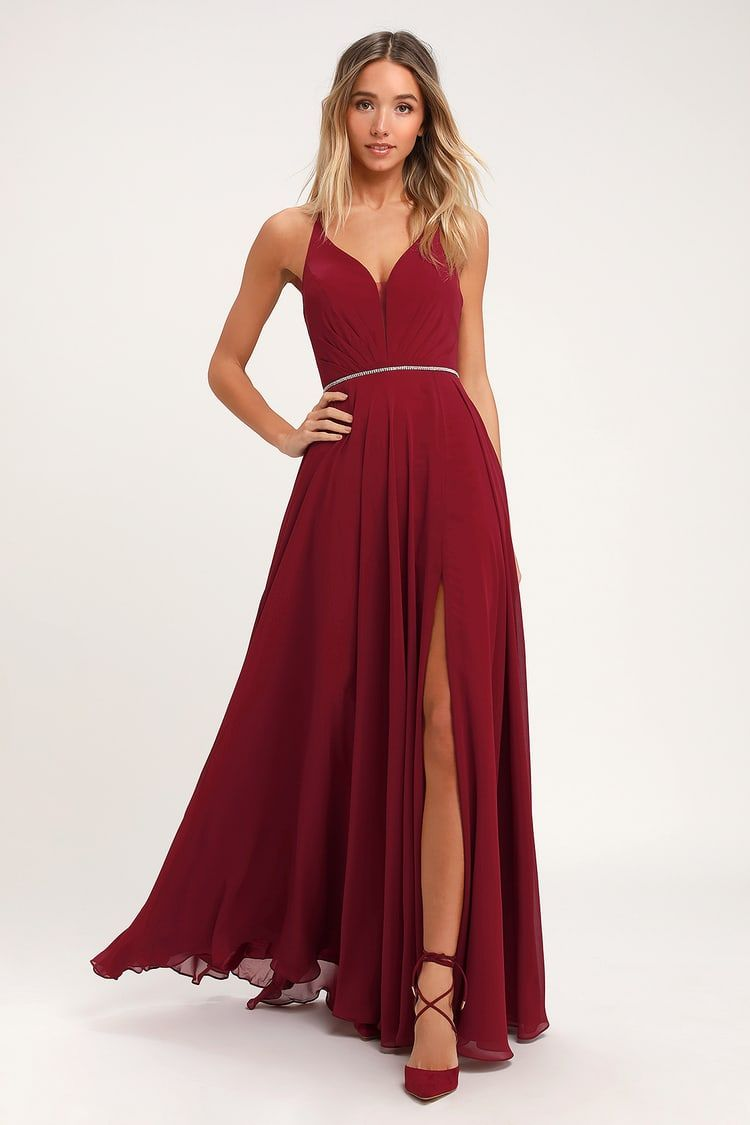 She S Gorgeous Wine Red Lace Up Rhinestone Maxi Dress In 2020 Red Prom Dress Long Dresses Pretty Homecoming Dresses