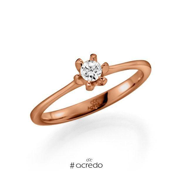 Ausdrucksvoller Verlobungsring Als Solitar In Rotgold Mit Diamanten