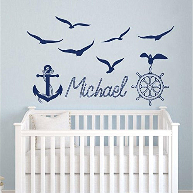 boys decor wheel name baby decal boy anchor sticker nautical room wall seagulls nursery ship vinyl pin kids