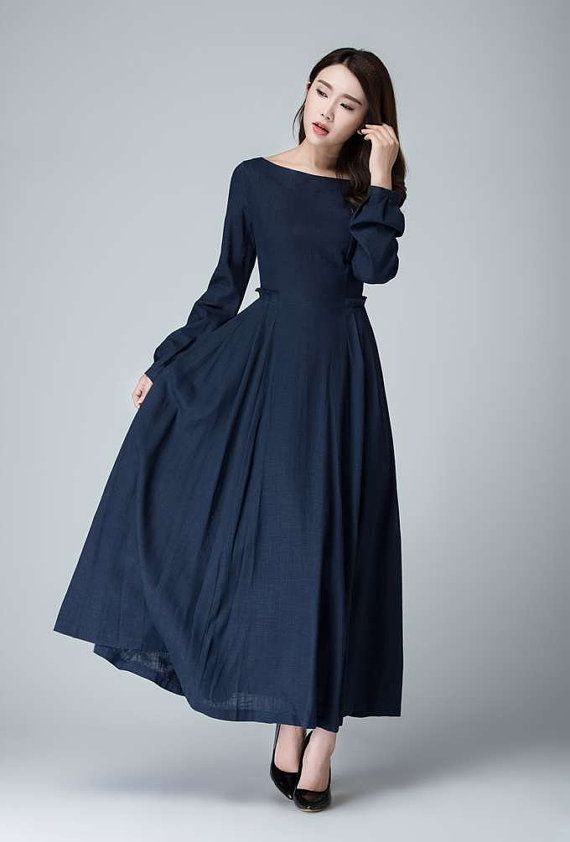 54d742c4d6c9 Dark blue dress, linen dress, fall dress, prom dress, party dress ...