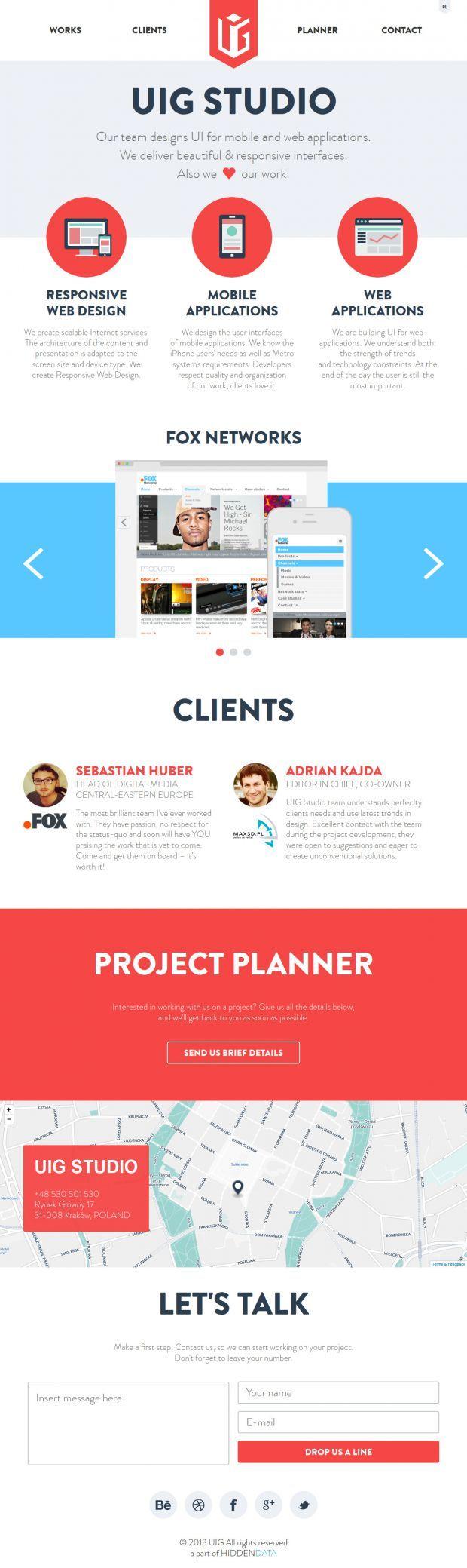 Webdesign Schweiz | Jetzt kostenlose Offerte anfordern http://www.swisswebwork.ch UIG Studio - deliver beautiful and responsive interfaces - Webdesign inspiration