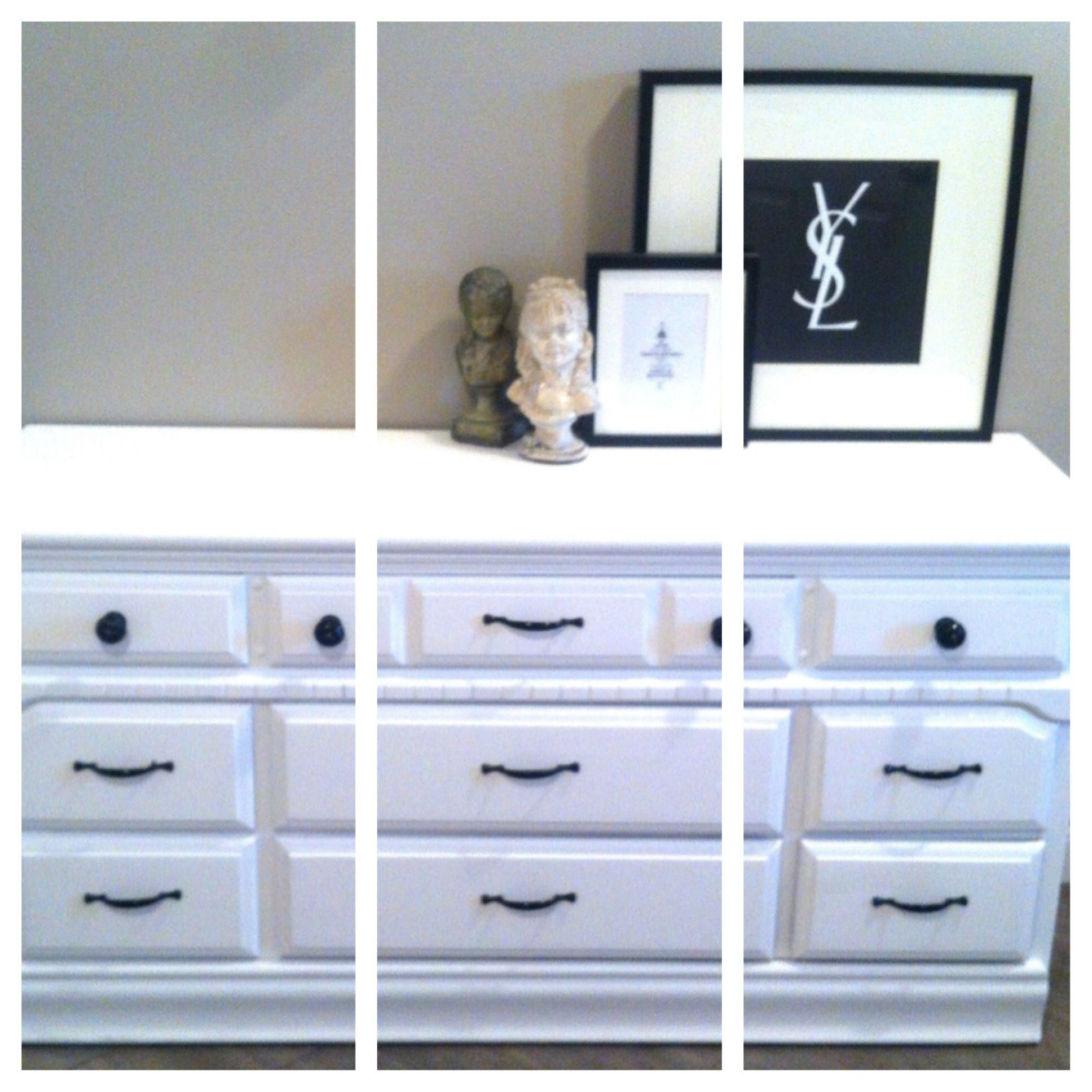White dresser w glossy black hardware torontoenaigslist