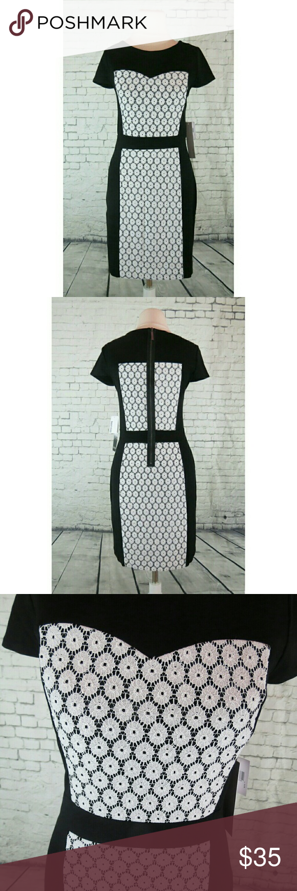 Selling this Kensie Dove Combo Lace Contrast Ponte sheath Dress on Poshmark! My username is: dressitgirl. #shopmycloset #poshmark #fashion #shopping #style #forsale #Kensie #Dresses & Skirts