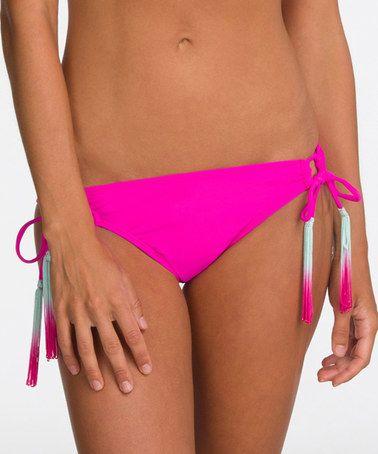 Look at this #zulilyfind! Dark Pink Fringe Side-Tie Bikini Bottoms - Women #zulilyfinds