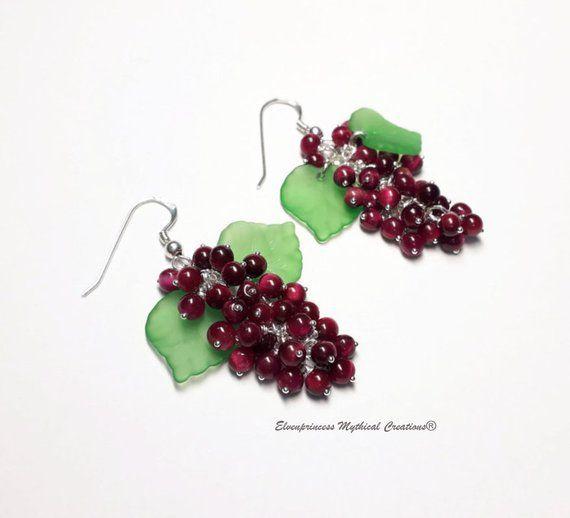 Sterling Silver Grapes Red Tiger Eye Earrings /Silver Earrings /Tigers Eye /Red /Christmas /Dangle /Festive /boho /Dainty /gift /graduation #OOAK #Jewellery #Christmasgifts #Christmascountdown #Giftsforher #makeherday #boho #cherryred #Christmasberries