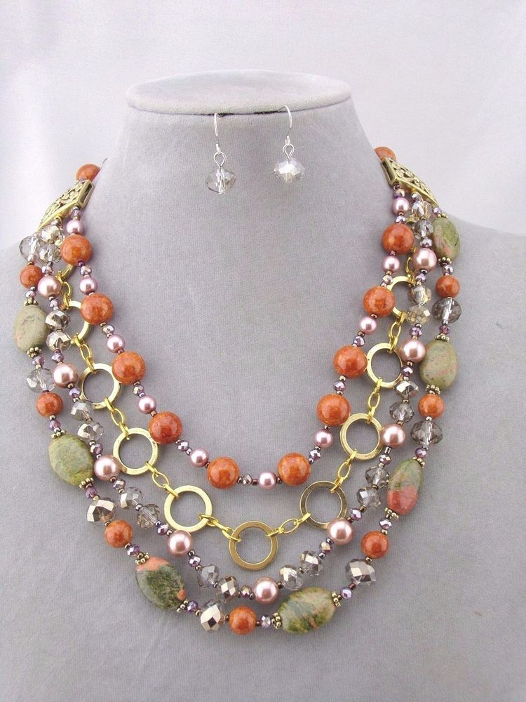 Layered Gold Stone Bead Necklace Set Orange Green Pearl Fashion ...