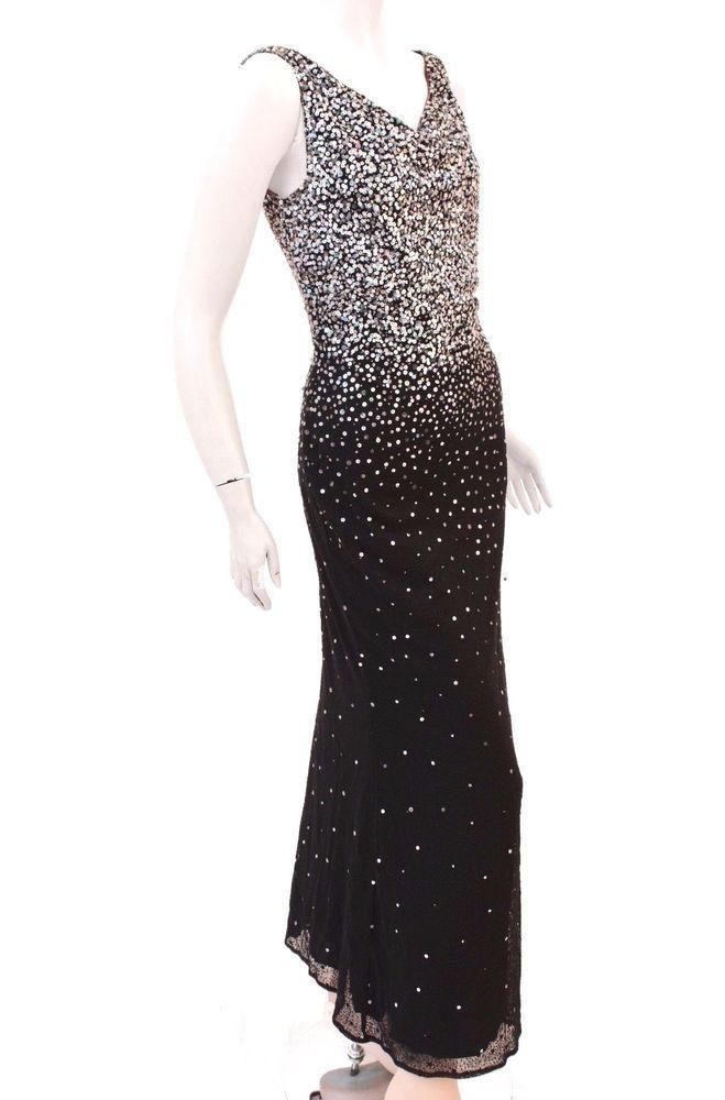 bb98bb11ca8c Naeem Khan Black Silk Evening Gown with Sequins Full Length Dress Size 6  #NaeemKhan #Gown #Formal