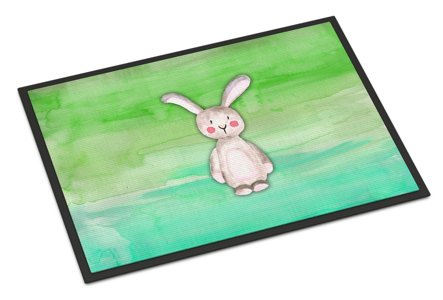 Bunny rabbit watercolor indoor or outdoor mat x bbmat