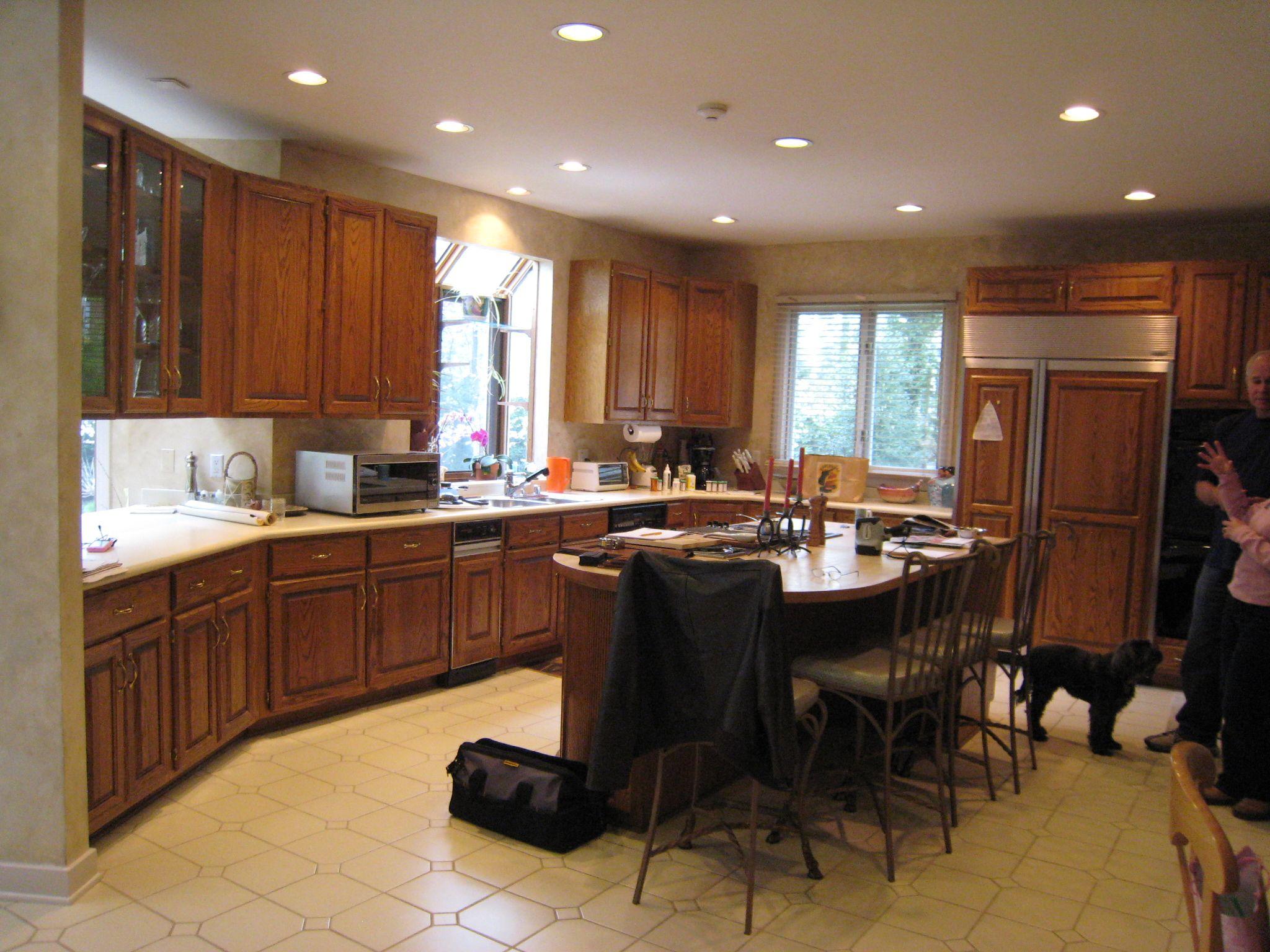 rustic craftsman cherry kitchen with contrasting espresso island