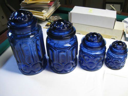 Rare Moon And Star Cobalt Blue 4 Piece Canister Set L E Smith Canister Sets Cobalt Blue Cobalt Glass