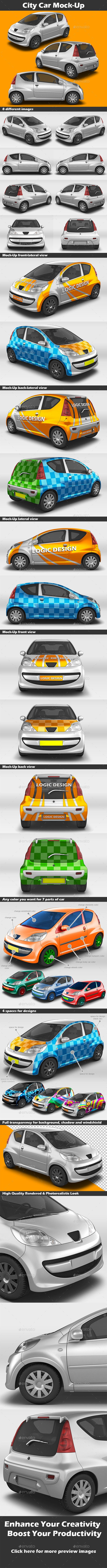 City Car Mock-UpDescription A professional City Car Mock-Up. You can easily change the SmartObject labels. Shadows and light refle