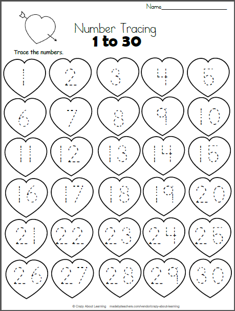 valentine hearts math worksheet trace 1 to 30 for teachers kindergarten math math. Black Bedroom Furniture Sets. Home Design Ideas