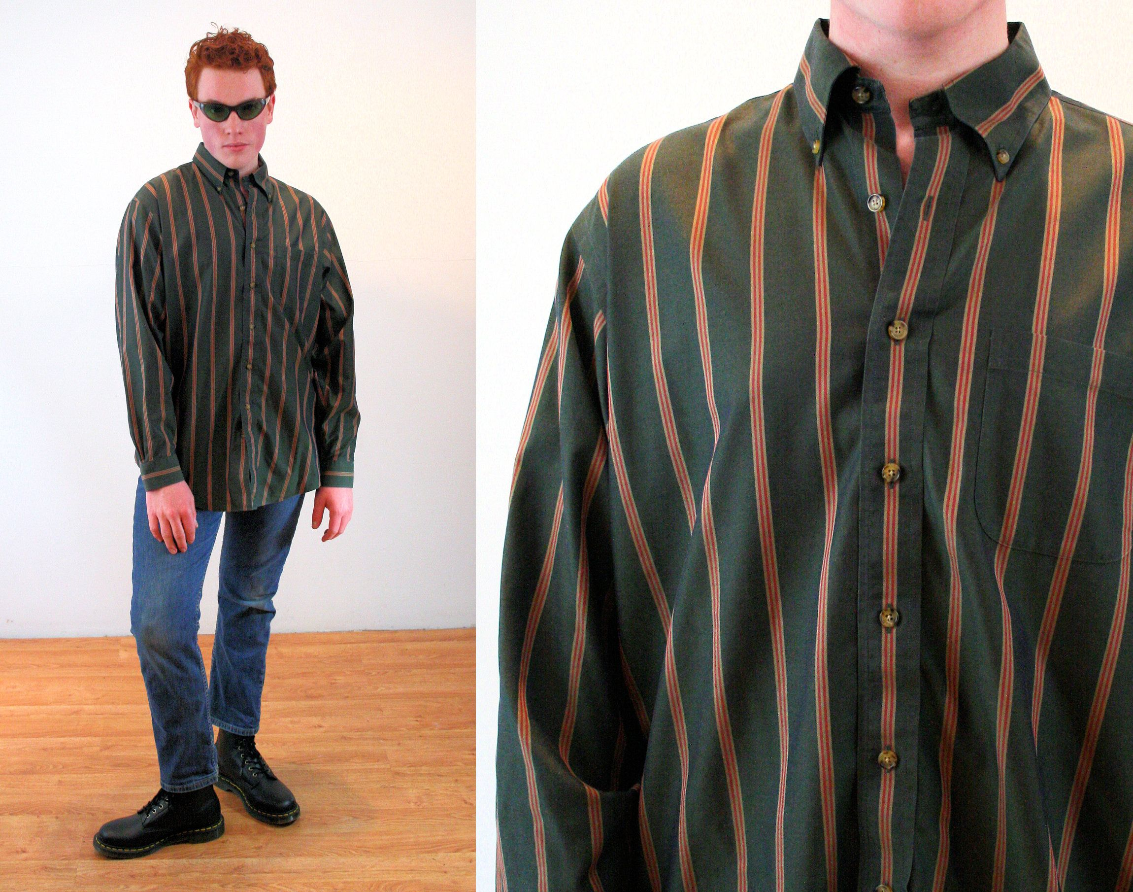 90s Striped Brooks Brothers Shirt L Olive Green Heavy Cotton Etsy In 2020 Brothers Shirts Mens Vintage Shirts Shirts